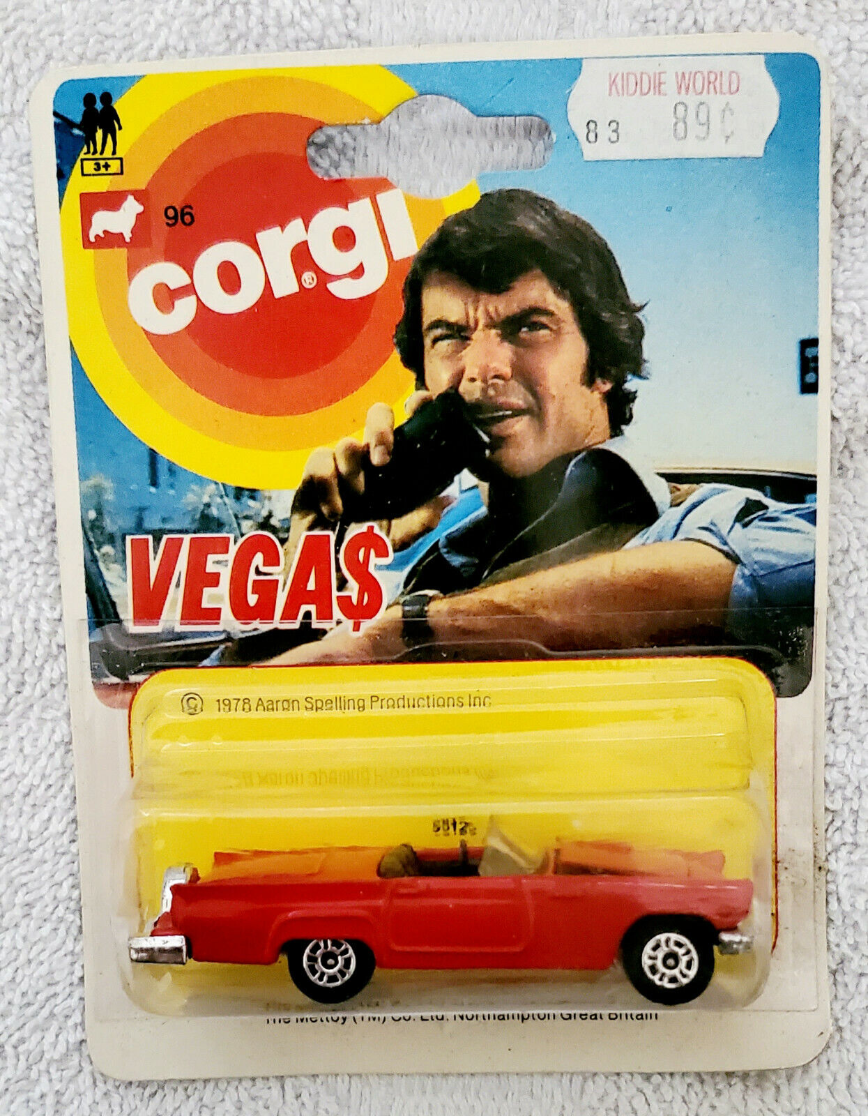 Vintage 1978 Corgi Vegas Red Color Aaron Spelling Production New In Blister Pack - $15.30