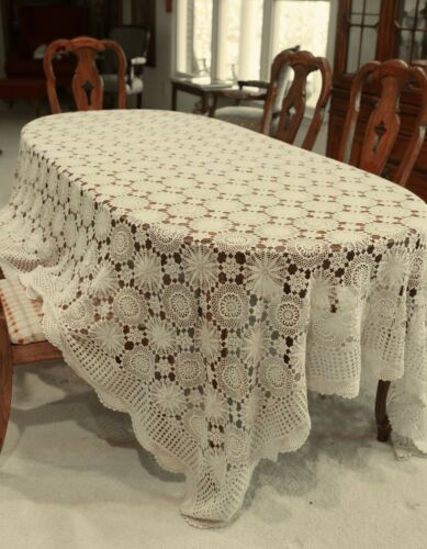Vintage Antique 1920s Ecru Crochet Knit Lace Tablecloth Bedspread
