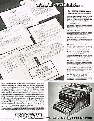 1930s BIG Original Vintage Royal Typewriter Typeface Font Photo Print Ad