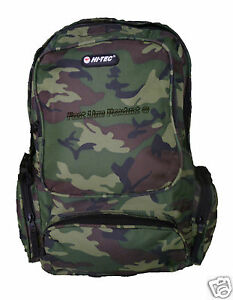 Boys Mens Hi-Tec Camouflage School Backpack Rucksack gym bag luggage travel bag
