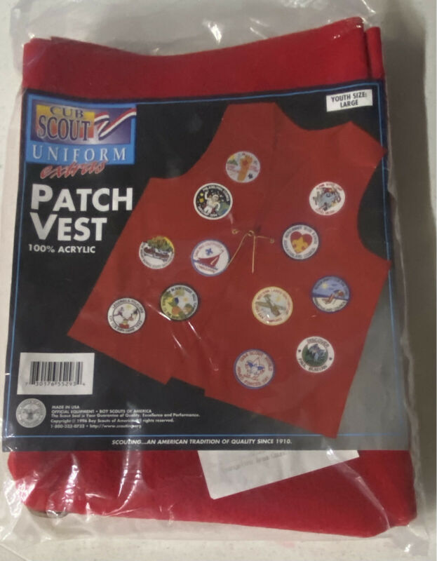 Cub Scout Patch Vest Size Youth Large Uniform Extras Red Acrylic Felt New