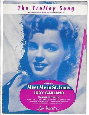 Judy Garland THE TROLLEY SONG Piano Vocal Sheet Music 1944