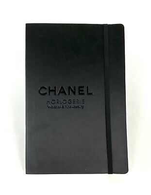 Chanel New Auth Black Leather Note Book Pad Journal Diary 5.5 X 8.25