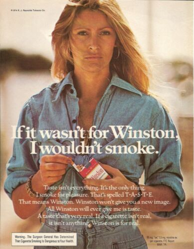 1974 Winston Cigarettes Vintage Magazine Ad   Sexy, Sultry Girl