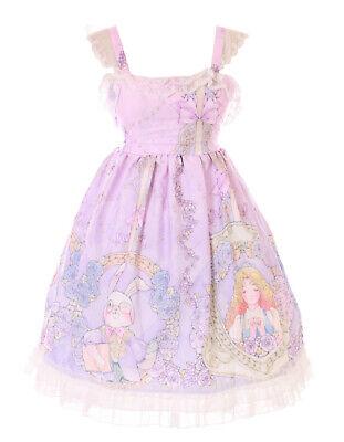 JSK-55 Púrpura Alice Wonderland Conejo Mago Gato Rosas Vestido Lolita Cosplay