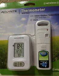 ACURITE Thermometer with clock (((WIRELESS)))  Indoor/Outdoor Temperature