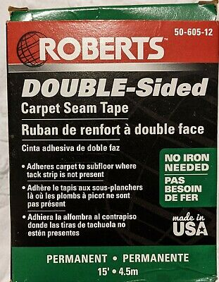 Roberts Double-sided Carpet Tape 2.5 In X 15 Ft Roll Adhesive New 50-605-12