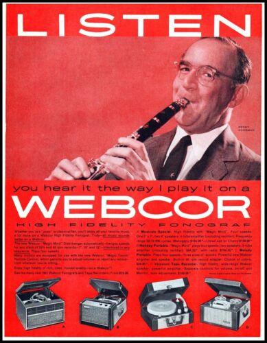 1957 Benny Goodman photo Webcor hifi fonoraph records vintage Print Ad  adL24