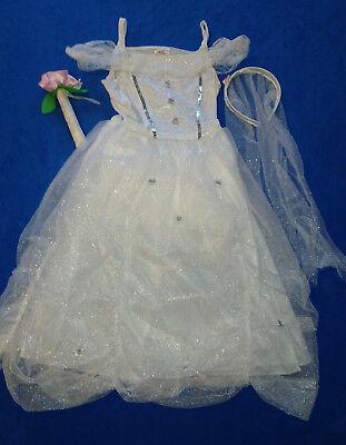 Kinder Kostüm Braut Engel Brautkleid  Eisprinzessin Prinzessin Fasching 110/116 ()