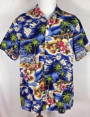 RJC Shirt Map of Hawaiian Islands Aloha Made in USA Mens XL X-Large
