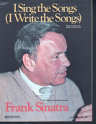 I Sing the Songs 1976 Frank Sinatra Sheet Music