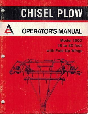 Allis Chalmers 1600 Chisel Plow Operators Manual New