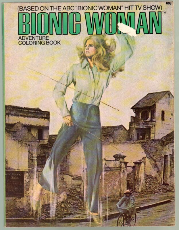 Bionic Woman Adventure Coloring Book #15011 1976-Lindsay Wagner-TV series-VG