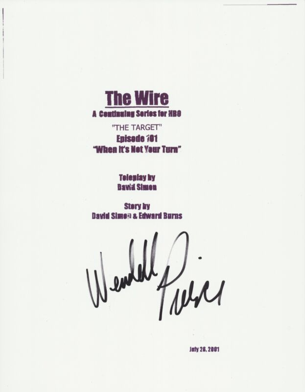 WENDELL PIERCE SIGNED THE WIRE 64 PAGE PILOT FULL SCRIPT