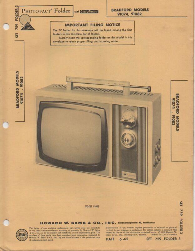 1965 Bradford 91074 91082 Television Service Manual Photofact Schematic Diagram