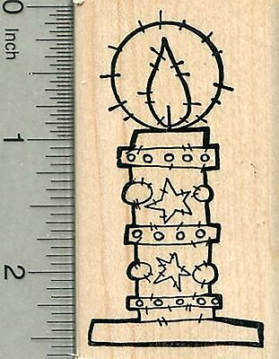 Christmas Candle Rubber Stamp, Irish Holiday Series H35505 WM ()