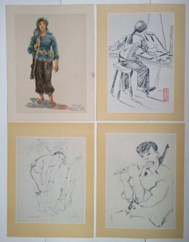 Lot of 44pcs Vietnam War Art Sheet Guerrilla Viet Cong Army Print 1960s Orig.