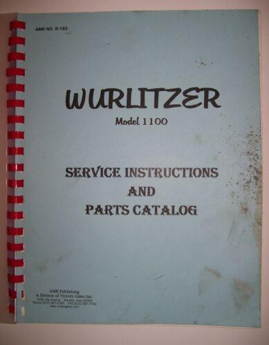 Original  Wurlitzer 1100 Jukebox Service Instructions & Parts Catalog