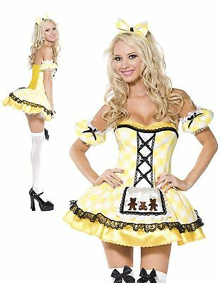 Ladies Sexy Goldilocks Costume Fairy Tale Story Book Fancy Dress MED Size 12-14