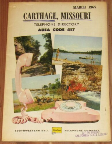 1965 MISSOURI TELEPHONE DIRECTORY, AREA CODE 417, CARTHAGE