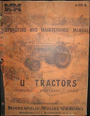 Minneapolis-moline U Tractors Standard Universal Operation Maintenance Manual