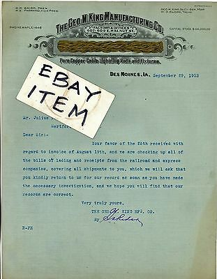 1913 letterhead DES MOINES IOWA George M King Mfg. LIGHTNING RODS Baird Farrand