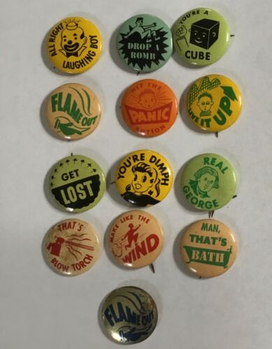 VINTAGE ARMOUR STAR FRANKS PIN PINBACK HOT DOG BUTTON LOF OF 13