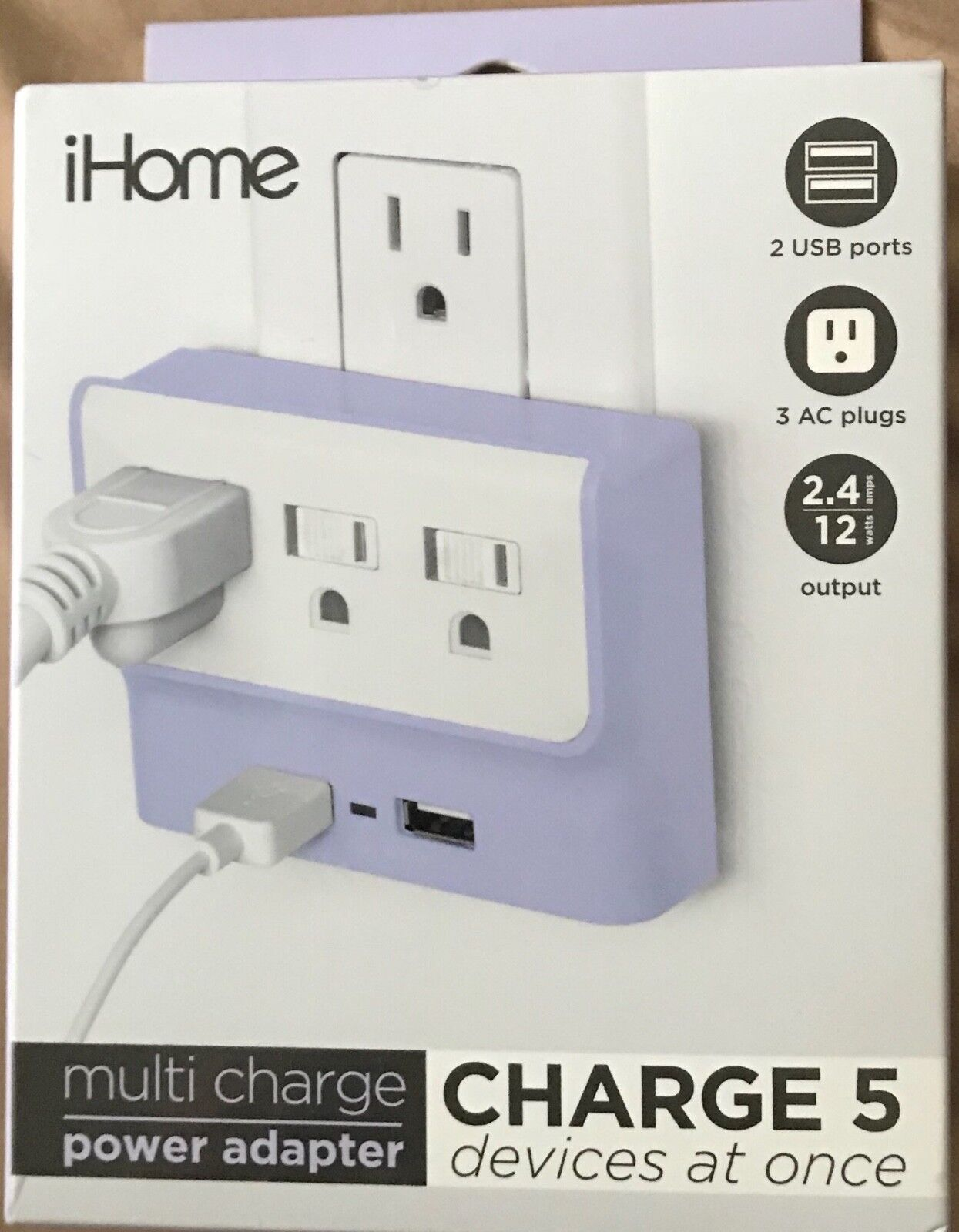 iHome Compact Multi Charge Power Adapter 2 USB + 3 AC Ports