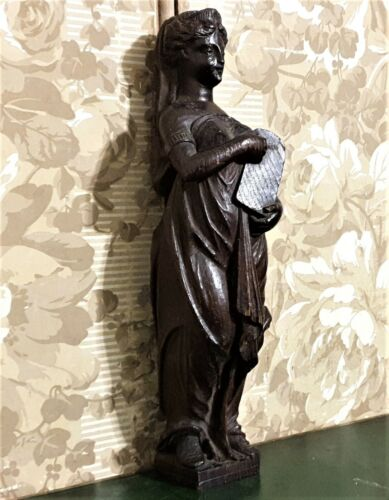 Lady carving sculpture symbolizing the law Antique french architectural salvage