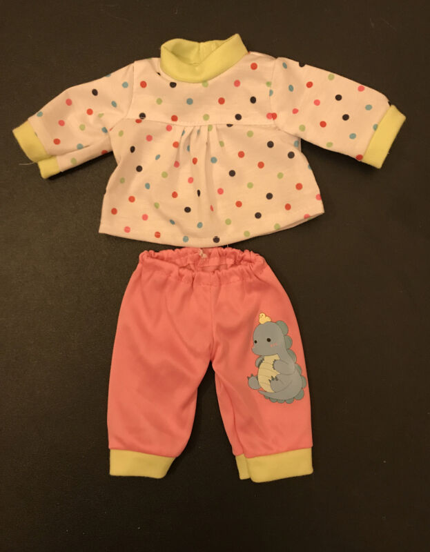 "14"" Inch Baby Alive Doll Clothes Polkadot Top & Pink Dinosaur Pants"