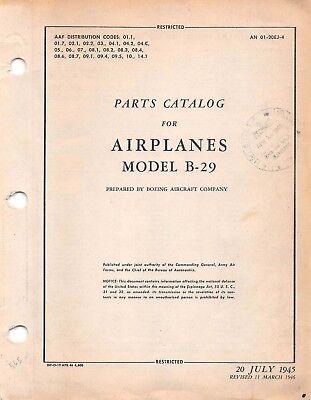 B-29 Parts Catalog World War II Book 1946 Aircraft Manual Flight Manual -CD Aircraft Parts Catalog Manual