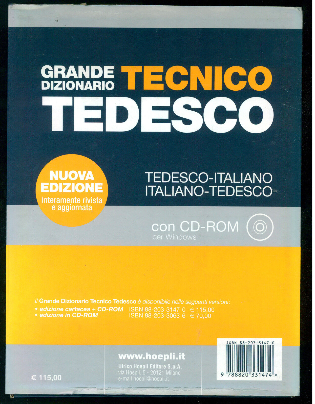 GRANDE DIZIONARIO TECNICO TEDESCO HOEPLI  2003 CON CD ROM