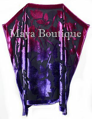 Caftan Dress Kimono Silk Burnout Velvet MAYA Dyed Stained Glass Orchid & Purple