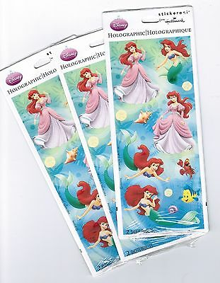 3 NEW packs Disney's The Little Mermaid ARIEL Princess Scrapbook Stickers! Little Mermaid Scrapbook Stickers