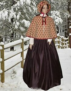 Ladies Victorian American Civil War 3pc gentry costume fancy dress size 14-18 BB