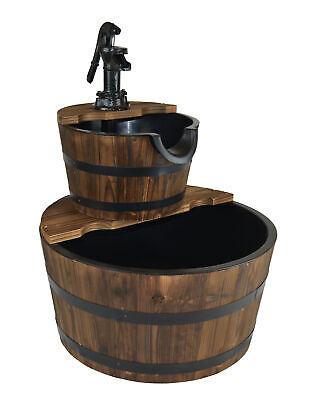 Wood Barrel with Pump Outdoor Water Fountain - Medium Garden