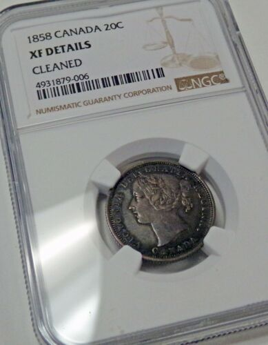 1858 CANADA 20c. NGC graded XF Details Cleaned