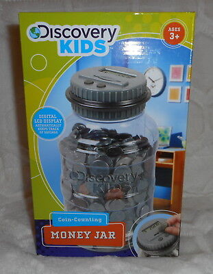 Discovery Kids Coin Counting Money Jar Bank Learning Toy Digital Lcd Display New