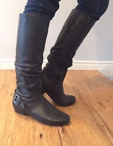 Leather black tall boots