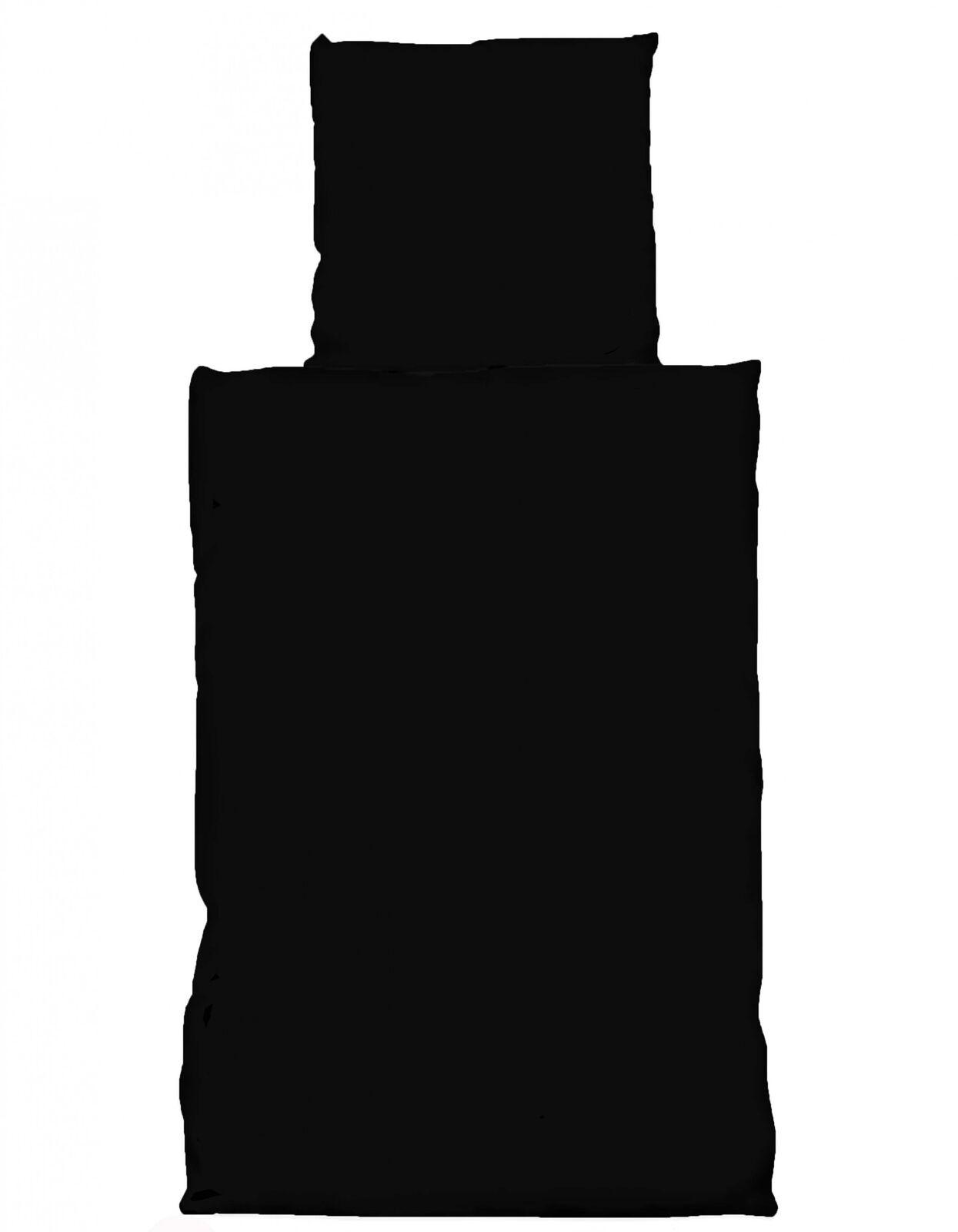 4 tlg Bettwäsche 135 x 200 cm Uni schwarz 2 Garnituren Microfaser