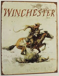 WINCHESTER-COWBOY-HORSE-METAL-SIGN-Rifle-Gun-Revolver-Pistol-Wild-West-NEW-Rep