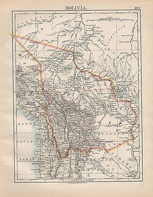 1898 VICTORIAN MAP ~ SOUTH AMERICA ~ BOLIVIA