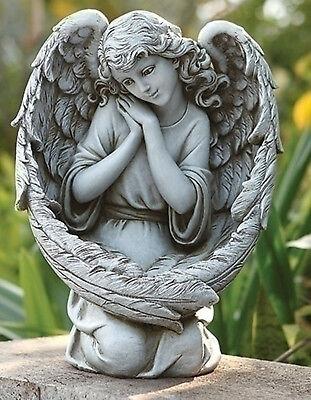 """13.25"""" Angel with Wings Bird Feeder Outdoor Garden Statue Joseph's Studio #65977"""