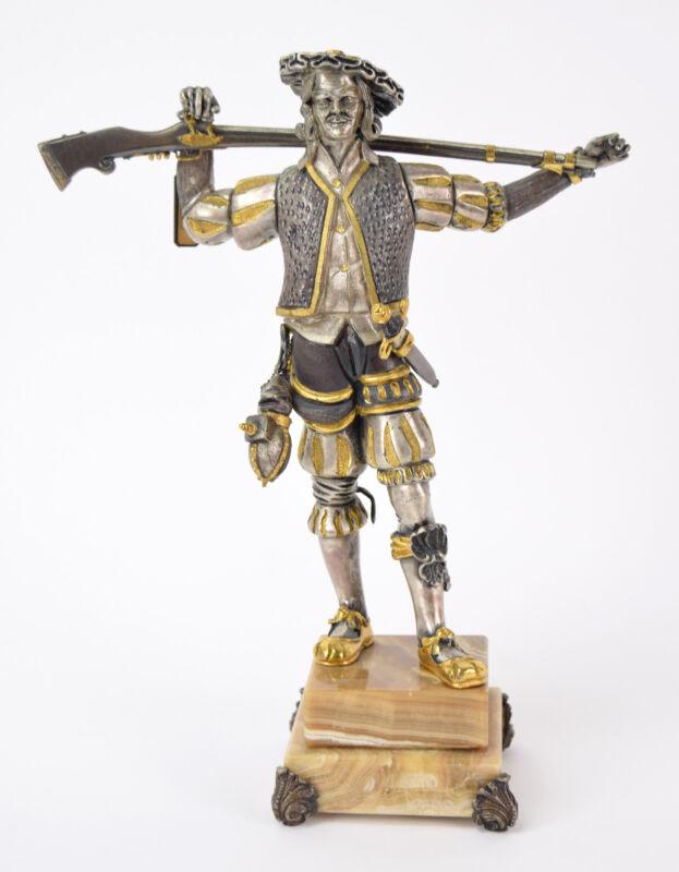16th C. Silesian Mercenary Flintlock Gun Italian Gilt Bronze Sculpture Danesin