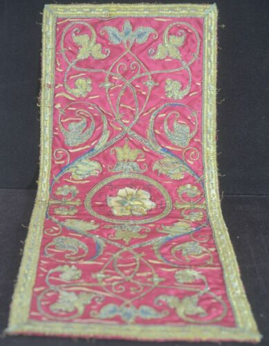 ANTIQUE EMBROIDERED FRENCH SILK PANEL UU594