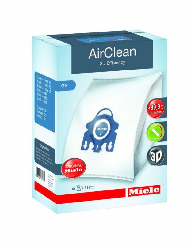 Miele AirClean 3D Efficiency Dust Bag, Type GN, 4 Bags & 2 Filters
