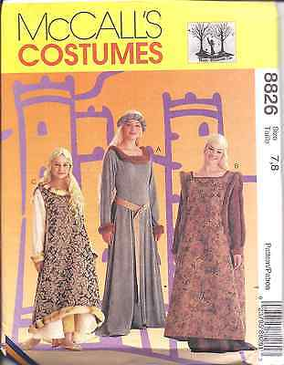 8826 UNCUT McCalls SEWING Pattern Medieval Misses Girls Dress Halloween Costume