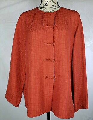 EILEEN FISHER Kimono Style Rust Silk Linen Womens Casual Jacket Blazer Size L