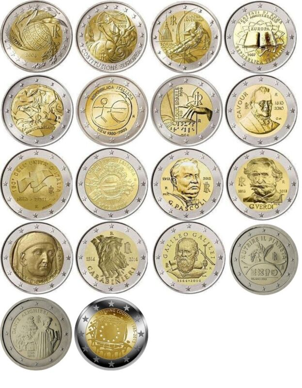Italy 2 euro 18 coins 2004 - 2015, UNC Italie Italia Italien Италия FDC