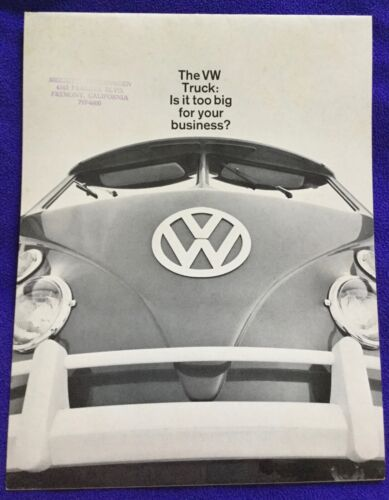 THE VW TRUCK - IS IT TOO BUG FOR YOUR BUSINESS BROCHURE. RARE VW BUS BROCHURE.